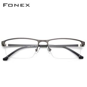 Image 2 - FONEX סגסוגת משקפיים מסגרת גברים חדש זכר כיכר אור מרשם משקפיים חצי קוצר ראיה אופטי מסגרות ללא בורג Eyewear 9843