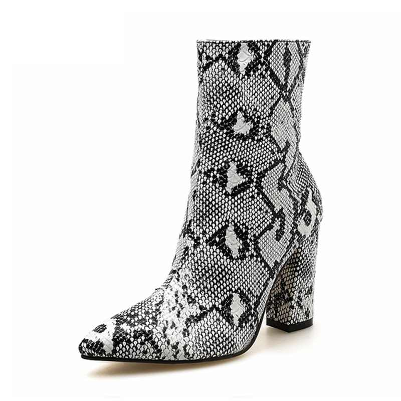 Frauen Stiefel Zipper Snake Print Stiefeletten Frauen Schuhe Platz Ferse Mode Spitz Damen Sexy Schuhe 2019 Neue Chelsea stiefel