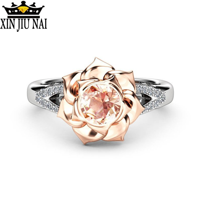 Crystal Female Champagne Flower Engagement Ring Cute Luxury 925 Silver Love Wedding Jewelry Promise Zircon Stone Rings For Women