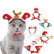 Pet Dog Cats Headdresses for Christmas and Halloween Cat Headgear Santa Headwear Hats Cosplay Dressing up Props