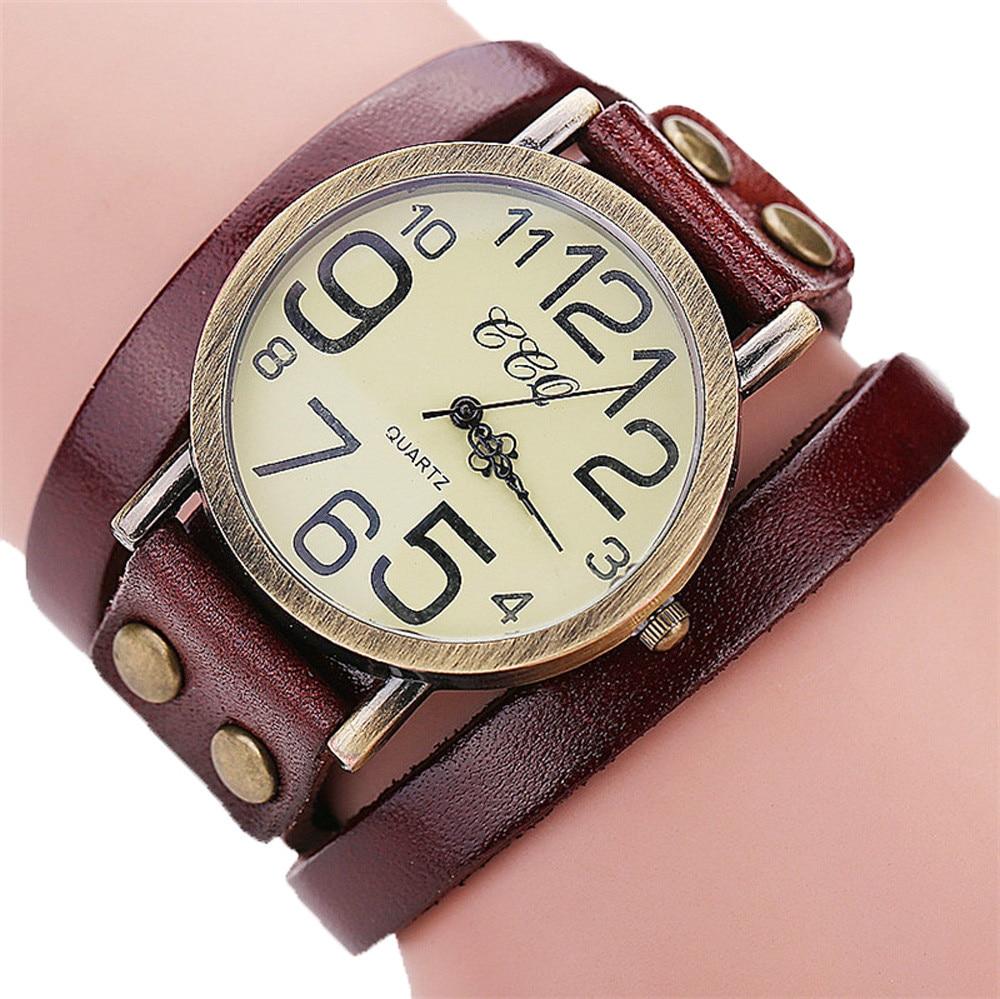 Luxury Brand Vintage Cow Leather Bracelet Watch Women Leather Bamboo Women's Watch  Classic Reloj Mujer 2019 Relogio Feminino