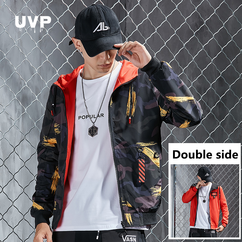 Reversible Jackets Man 2020 Windbreaker Camouflage Men's Winter Jacket Casual Clothes Male Hooded Tracksuit Black Mens Jackets
