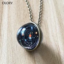 Solar System Necklace Pendant Planet Necklace Galaxy Double Sided Glass Dome Fashion Accessories Party Gift Personalized Gift...(China)