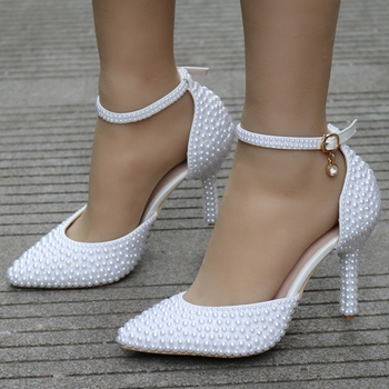 Crystal Queen Pointed Toe White Pearl Wedding Shoes Thin Heels Bridal High Female Party Ankle Strap Sandals - discount item  35% OFF Women's Shoes
