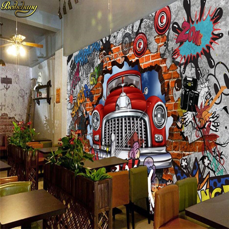 beibehang papel de parede Custom wall paper mural retro nostalgic European <font><b>3D</b></font> brick wall <font><b>car</b></font> graffiti large mural <font><b>3d</b></font> <font><b>wallpaper</b></font> image