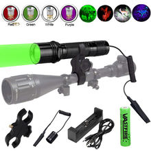 6P 1 Mode Tactical Hunting Flashlight Aluminum Scout Lamp Torch Lintern+Replaced RGB Light Head+Switch+Mount+18650+USB Charger(China)