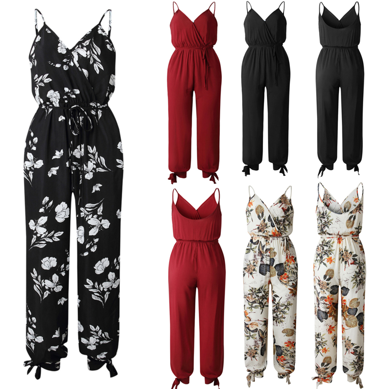 Hot Casual Women Sleeveless Loose Baggy Trousers Overalls Pants Solid Romper Jumpsuit Backless V neck Women's Floral Clubwear