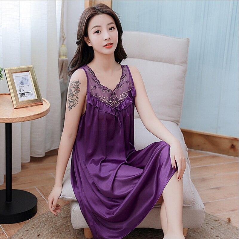 Women's Sexy Silk   Nightgowns   Ladies Lace Long Sleepwear 2019 Summer Girls Sleeveless Loose Sleepdress   Sleepshirts