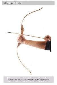 Image 5 - Arc en bois en bambou pour enfants, avec 3 flèches de sécurité, ensemble de bras de protection pour lextérieur, jouets de chasse à larc, cadeau pour enfants