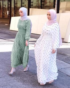 Punto de la onda Vestidos Largos para las mujeres caftán musulmán vestido Hijab Dubai Abaya Turquía Kimono caftán ropa islámica Vestidos Largos