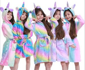 Sleepwear Children Bathrobes Pajamas Nightgown Flannel Home-Clothes Toddler Girls Kids