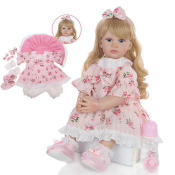 60cm Big Size Reborn Toddler Doll Toy Lifelike Vinyl Princess Baby With pillow Cloth Body Alive Bebe Girl Birthday Gift