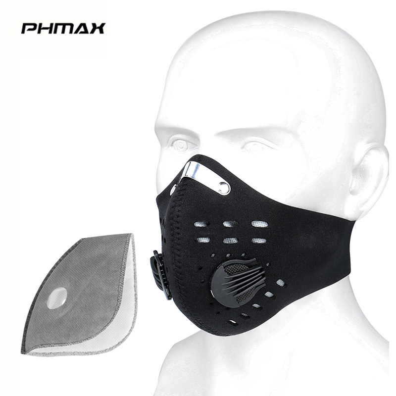 PHMAX Anti-fog Cycling Face Mask Anti-Pollution Mask With Activated Carbon Filter Training Mask MTB Road Bike Mask For Men Women