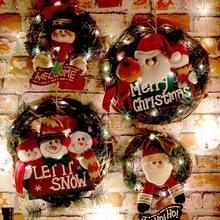 Деревянная Рождественская гирлянда, венок, Декор, Настенная подвесная дверь, Санта-Клаус, лось, снеговик, украшения, Рождественский кулон, д...