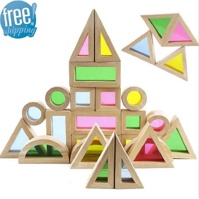 Rainbow SUKIToy Montessori brinquedo De Madeira do Miúdo Macio Colorido De Madeira Building Blocks Set Toy 24 PCS 6 Forma 4 Translúcido cores