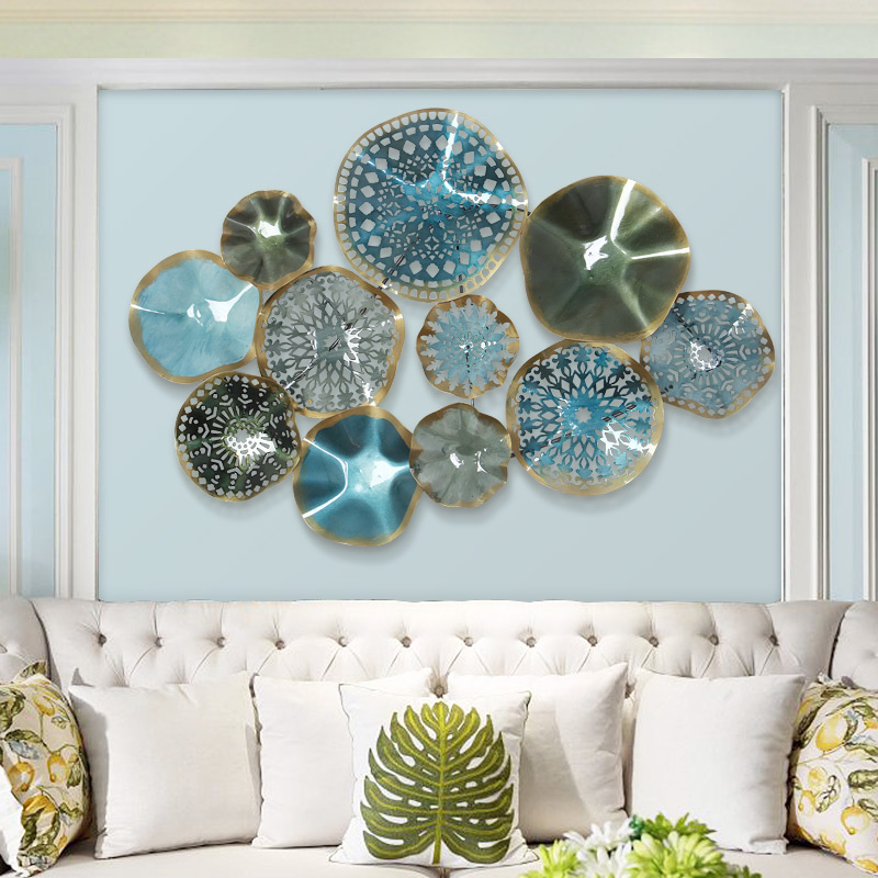 European Creative Wall Hanging Metal Round Blue Flower Ornaments Crafts Decoration 3D Stereo Home Wall Background Sofa Mural Art