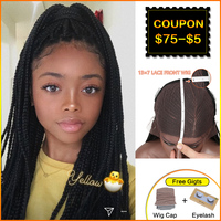 Bella 13X7 Lace Braided Wigs Synthetic Lace Front Wig 33 Inch #1B Handmade Braided Box Braids Wig With Baby Hair Wigs for Women