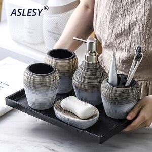 Image 2 - Retro ręcznie łazienka zestaw ceramiczna armatura łazienkowa uchwyt na szczoteczki do zębów dozownik do mydła butelka do balsamu kubek do płukania ust do przechowywania