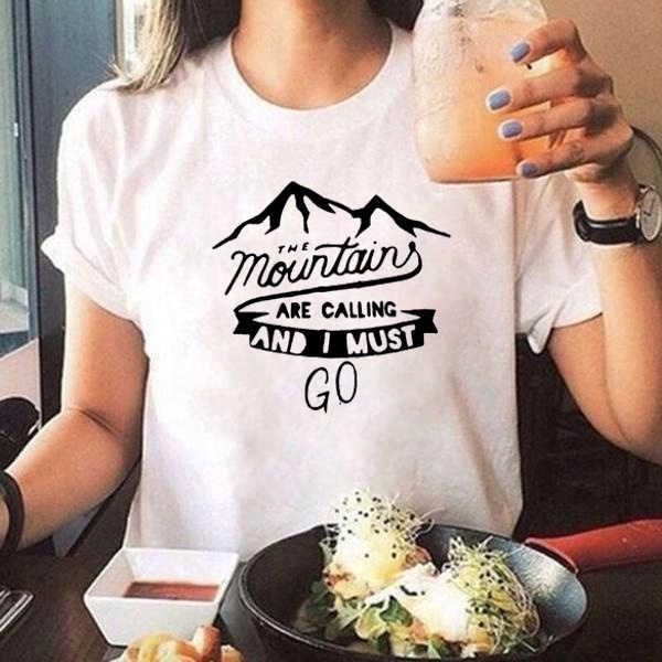 The Mountains Are Calling and I Must Go Travel Lovers Tshirt Camping Harajuku Graphic T Shirts Women Clothes