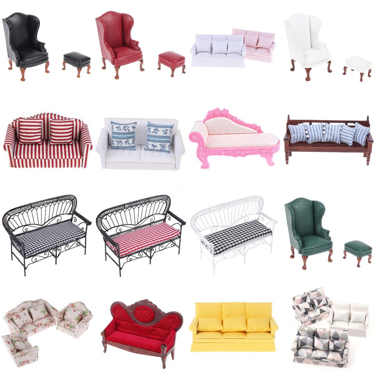 Mini bonito sofá travesseiros para bonecas crianças simulação casa de bonecas móveis brinquedos 1:12 casa de boneca em miniatura