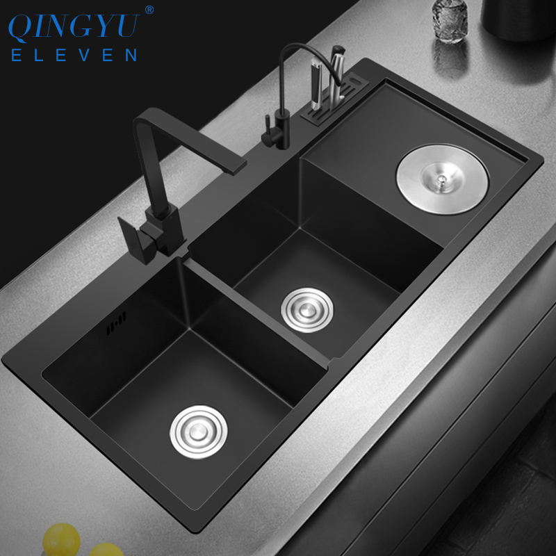New Double Bowl Kitchen Sink Nanometer Antibacterial Black 304 Stainless Steel Nano Technology Double Sink With Trash Can