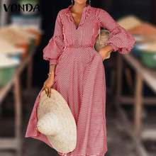 Elegant Dress Robe Party VONDA Casual Loose Striped Fashion Sexy v-Neck Femme 5XL