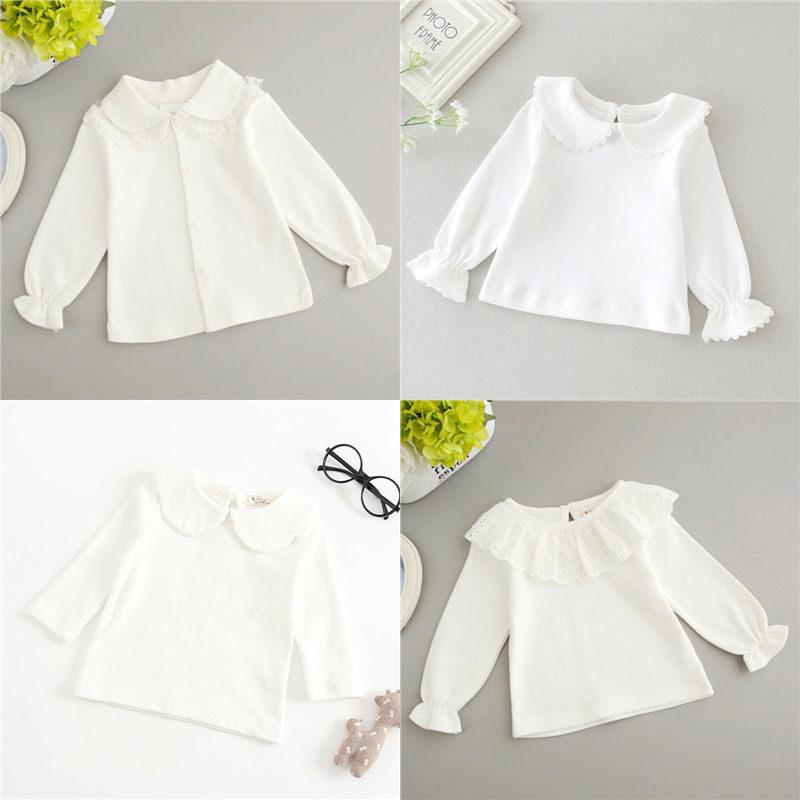 Newborn Baby Boy White T Shirt Infant Kids Girls Long Sleeved Cotton Blouse Tops Tee Shirts Baby White Ruffle Toddler Colthes