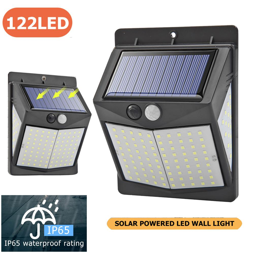 122LED Solar Power PIR Motion Sensor Wall Light Outdoor Garden Street Lamp With PIR Motion Sensor Exterior Light Dropshipping
