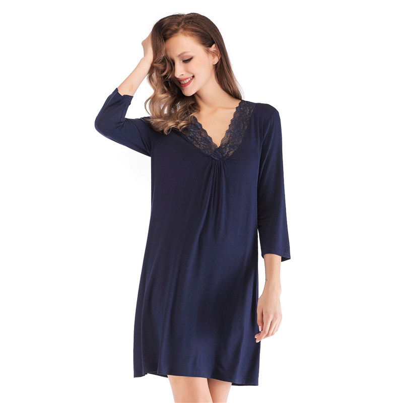 Cotton   Nightgowns   Women Night Wear V-neck Night Shirt   Sleepshirt   Lace NightDress Sleepwear Lingerie Sexy Home Wear Clothing