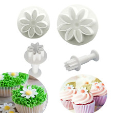4Pcs Plum Flower Plunger Fondant Mold Cookie Cutter Daisy Cake Decorating Tools Sugarcraft Biscuit Stamp Cutter