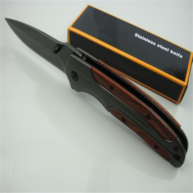 DA43 quick opening folding knife (gray titanium)  440C all steel + acid wood handle Military Survival hunt and camp Knife Pocket 5
