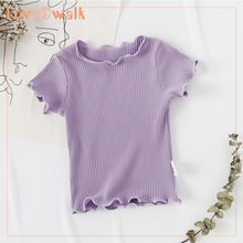Summer Baby Girls Candy Color Short Sleeved Kids T-shirt Cotton Clothes Tops Cute New O-Neck Girl T Shirt Children стоимость