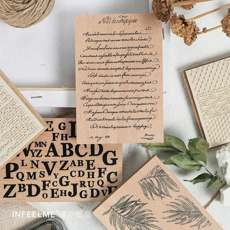 Retro Bahasa Inggris Huruf Tanaman Alfabet Latar Belakang Stamp DIY Vintage Kayu Stempel untuk Scrapbooking Alat Tulis Standar Stamp