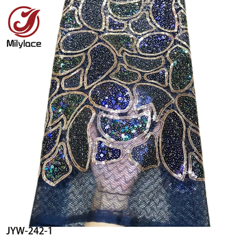2019 Fashion African Lace Fabric 5 Yards Mixed Color Shining Sequins Tulle Mesh Lace Fabrics for Wedding Party JYW-242
