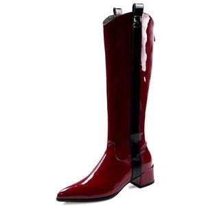 Image 4 - Fedonas 따뜻한 롱 부츠 나이트 클럽 신발 여성 2020 가을 겨울 암소 특허 가죽 여성 니 하이 부츠 지퍼 하이힐