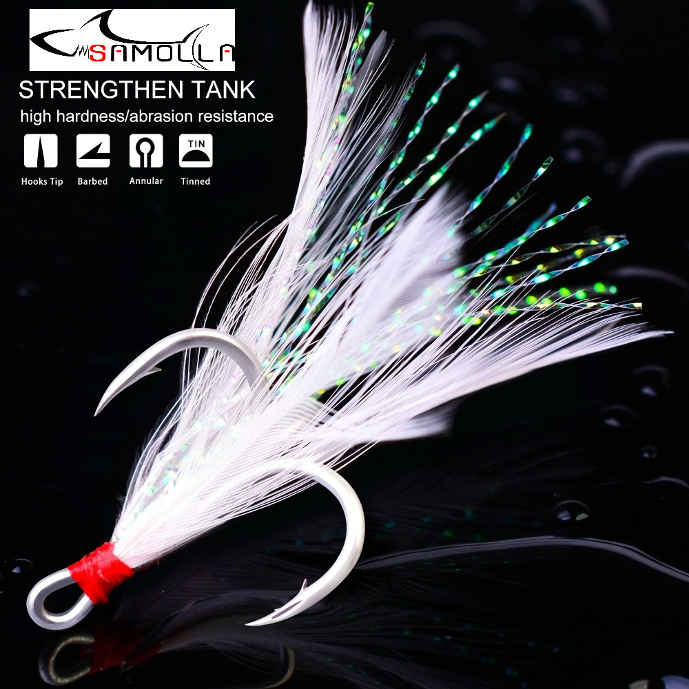 Treble Fishing Hooks 10pcs Treble Hooks With Feather Tackle Fishing Hook Stronger Carbon Steel Barbed Fishhooks Pesca Accessary