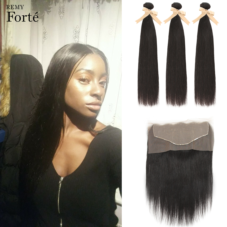 Remy Forte Straight Bundles With Closure 13x6 Transparent Lace Frontal With 3 4 Hair Bundles 8-28 Inch Natural Hair Fast USA