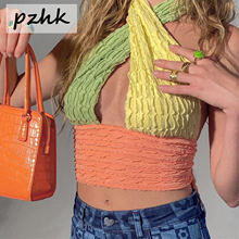 Pzhk Women's Sexy Criss Cross Lace Up Sling Tube Basic Bow Tie Chain Bandage Crop Top Slim Vest Club Party Festival