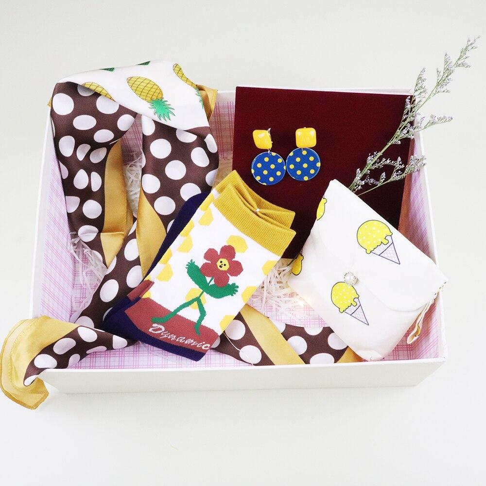70*70cm Unique Set Silk Scarf  Girls's Gift Set With Earrings 4pcs Set