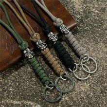 MKENDN Outdoor Klettern Männer Punk Vintage Schädel Metall Keychain Lanyard Handarbeit Gewebt Überleben Paracord Messer Seil Schlüssel Ringe