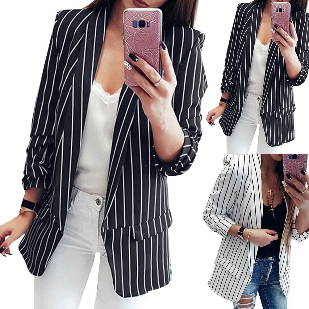 Autumn Winter Slim Fits Women Blazer Mujer Formal Jackets Office Lady Open Front Notched Blazer Coat Fashion Stripe Black White