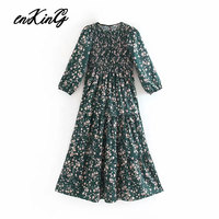2019 women chic floral print midi za dress O neck long sleeve retro female casual mid calf dresses straight vestidos
