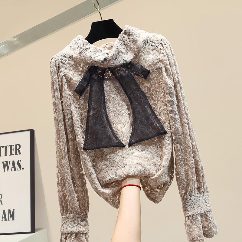 Noeud dentelle blouse femmes modis flare manches femmes hauts et chemisiers 2019 automne et hiver nouveauté chemise élégante 2 couleurs