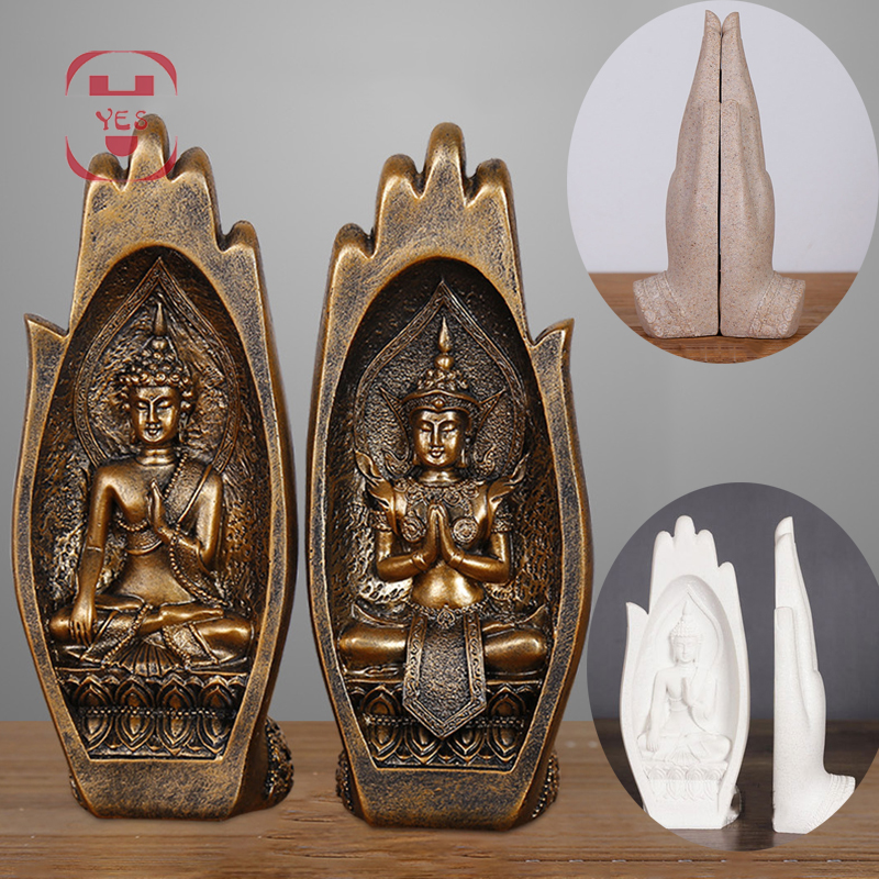 2 Pcs/set Resin Buddha Statue Monk Figurine Tathagata India Yoga Mandala Hands Sculptures Home Decoration Accessories Ornaments
