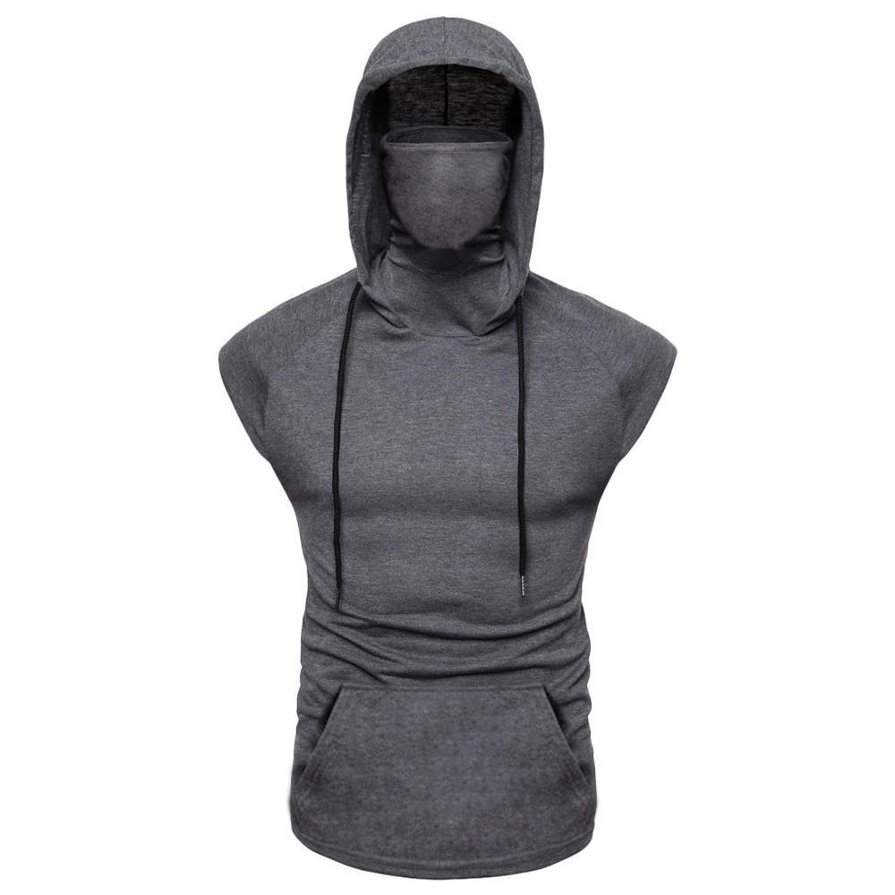 Tank Tops Mens Muscle Hoodie Top Tees Bodybuilding Gym Workout Sleeveless Vest Ninja With Mask harajuku hoodie Shirts Tracksuit