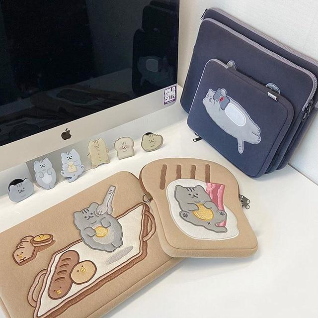 Tablet case laptop storage bag For Mac Ipad pro 9.7 11 13inch Cartoon toast cat sleeve liner bag student girls Case 5