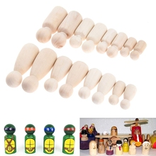 16 Pcs People Shapes, Male&Female Decorative Wooden Doll People, Unfinished Peg Bodies, Great For Arts And Crafts