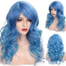 VICWIG 24 inç uzun yeşil mavi dalgalı Cosplay peruk yan patlama ile isıya dayanıklı sentetik peruk kadınlar için