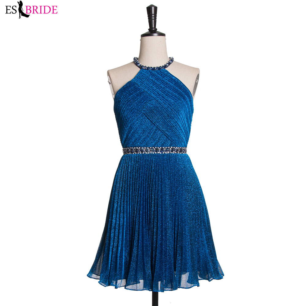 Royal Blue Pink Beaded Cocktail Dresses 2019 Pleated Short Prom Dress Crystal Belt Evening Party Halterneck Formales Cortos