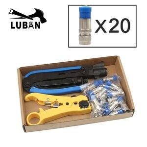 Синий коаксиальный кабель ручной обжимной инструмент набор для f-типа соединителя 20 шт RG59 коаксиальный кабель щипцы с компрессионными соед...